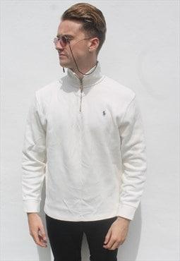 Ralph Lauren 1/4 Zip Off White USA Sweat