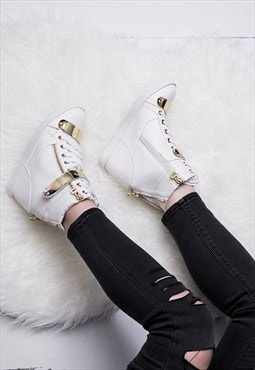 GUNN Hidden Wedge Lace Up Hi-Top Trainer Shoes - White