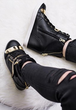 GUNN Hidden Wedge Lace Up Hi-Top Trainer Shoes - Black