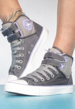 1990s Grey & Lilac Converse Basketball Hi-Tops Hip Hop