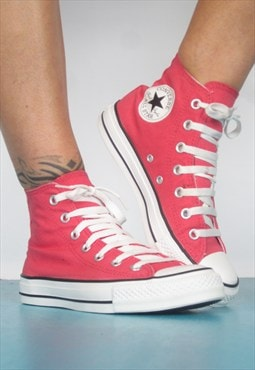 1990s Coral Chuck Taylor All Star Converse Hi-Tops Preppy