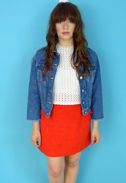Vintage 70s Red Ultra Suede Mini Skirt