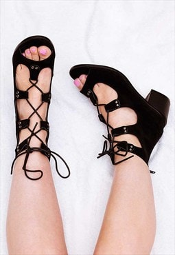 PHIA Lace Up Block Heel Sandals Shoes - Black