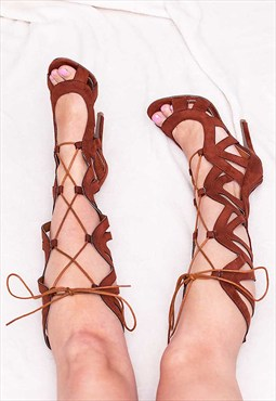 AISHA Lace Up High Heel Stiletto Gladiator Sandals Shoes