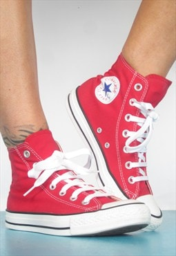Vintage 1990s Red Converse Hi-Tops Trainers Sneakers Grunge