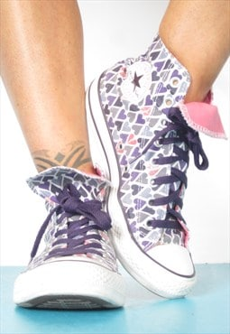 Vintage 1990s Purple Love Heart Converse Hi-Tops Preppy