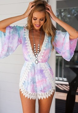Tie Dye Lace Featured Playsuit - Sweetest Days Playsuit