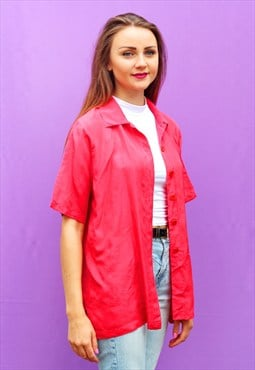1990s vintage tomato red pure silk oversized shirt