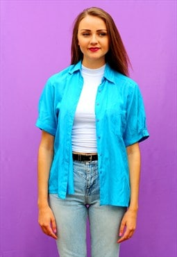 1990s vintage bright blue pure silk oversized shirt