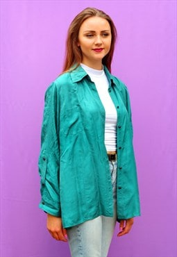 1990s vintage green pure silk oversized shirt