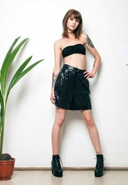 Sequin cabaret shorts 80s shiny glam high waisted shorts