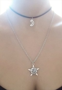 moon choker and necklace set