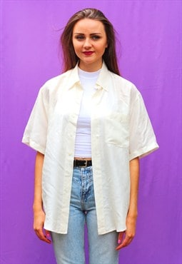 1990s vintage white pure silk oversized shirt
