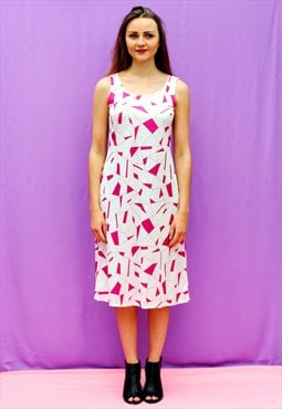 1990s vintage slinky pink and white abstract midi dress