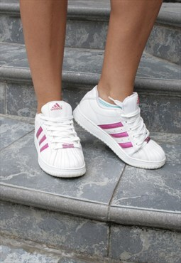 Vintage 90s Adidas Shell Toe Pink Leather Superstar