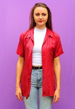 1990s vintage red wine pure silk oversized shirt