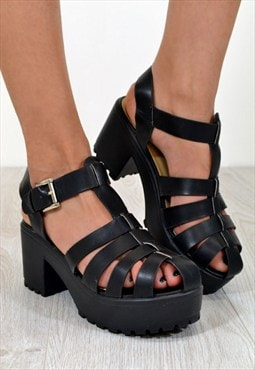 OPEL Chunky Heel Cut Out Strappy Sandals in BLACK