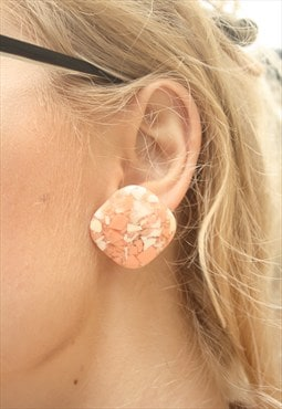 1960's Peach & White Marbled Studs