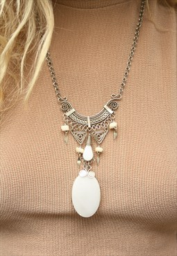 1990's White Stone Boho Necklace
