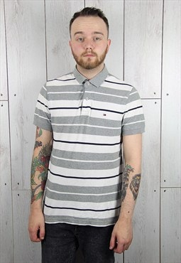 Vintage 1980s Grey Striped TOMMY HILFIGER Polo Shirt (M)