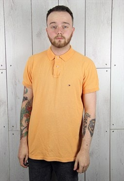 Vintage 1980s Light Orange TOMMY HILFIGER Polo Shirt (M)