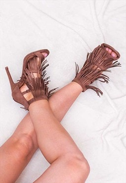 TYLER Open Peep Toe Tassle High Heel Stiletto Fringe Sandals