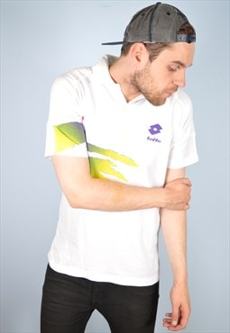Lotto Mens Vintage Polo Shirt Large White 90's