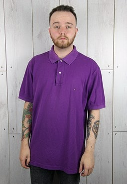 Vintage 1980s Purple TOMMY HILFIGER Polo Shirt (XXL)