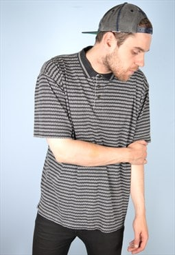 Reebok Mens Vintage Polo Shirt Medium Black Stripes 90's