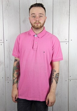 Vintage 1990s Light Pink TOMMY HILFIGER Polo Shirt (XL)
