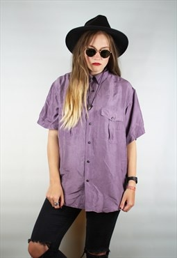 Vintage 90s Retro Purple Silk Oversized Shirt