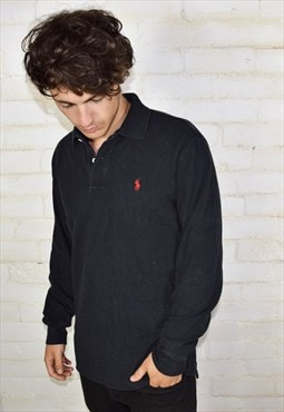 Vintage Black Ralph Lauren Long Sleeve Polo Shirt