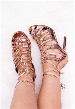 FARGO Lace Up High Heel Stiletto Sandals Shoes - Gold