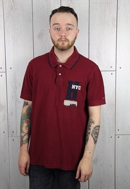 Vintage 1990s NYC Dark Red TOMMY HILFIGER Polo Shirt (L)