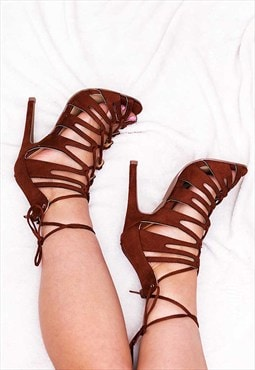 FARGO Lace Up High Heel Stiletto Sandals Shoes - Brown
