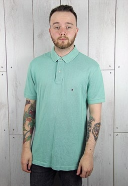 Vintage 1990s Light Green TOMMY HILFIGER Polo Shirt (XL)