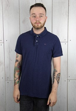 Vintage 1990s Navy Blue TOMMY HILFIGER Polo Shirt (XL)
