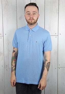 Vintage 1990s Light Blue TOMMY HILFIGER Polo Shirt (M)