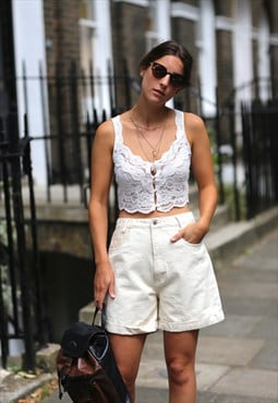 Vintage '80s Cream Lace Denim Shorts