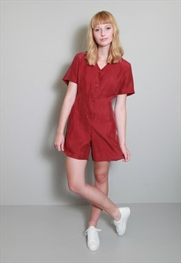 Vintage 1980's Red Silk Button Up Playsuit