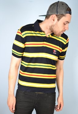 Valentino Mens Vintage Polo Shirt Medium Multi Stripes 90's