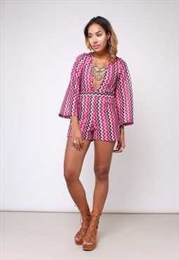 New 70s Inspired Bell Sleeve Deep V Playsuit 2238793