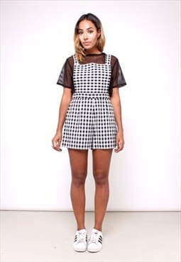 Cute Gingham Playsuit dungaree shorts 2240531