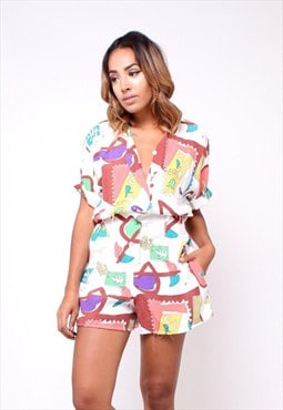 Vintage 80s Abstract Print Playsuit / Romper 256TD35