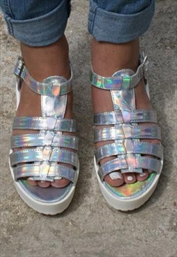 Single Buckle Strap Low Heel Strap Hologram Sandal - Silver