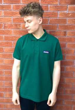Vintage Ellesse Green Stitched Box Logo Polo Shirt