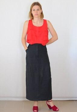 Vintage 90's black linen skirt