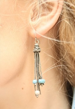 1980's Silver & Turquoise Tassel Drop Earrings