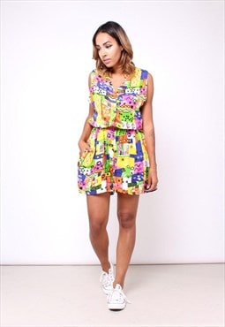 Vintage 80s Abstract Print Playsuit / Romper 256TD33