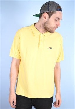 Fila Mens Vintage Polo Shirt XL Yellow 90's